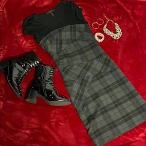 Black and Gray Plaid BCBG Dress